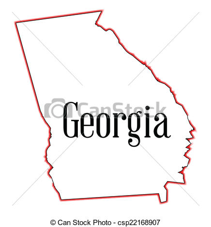 436x470 Georgia Outline Vector State Map Of Over A White Background