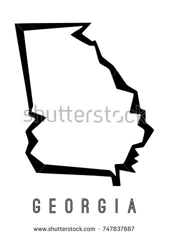 338x470 Georgia State Map Outline Georgia Map Outline Us State Shape Stock