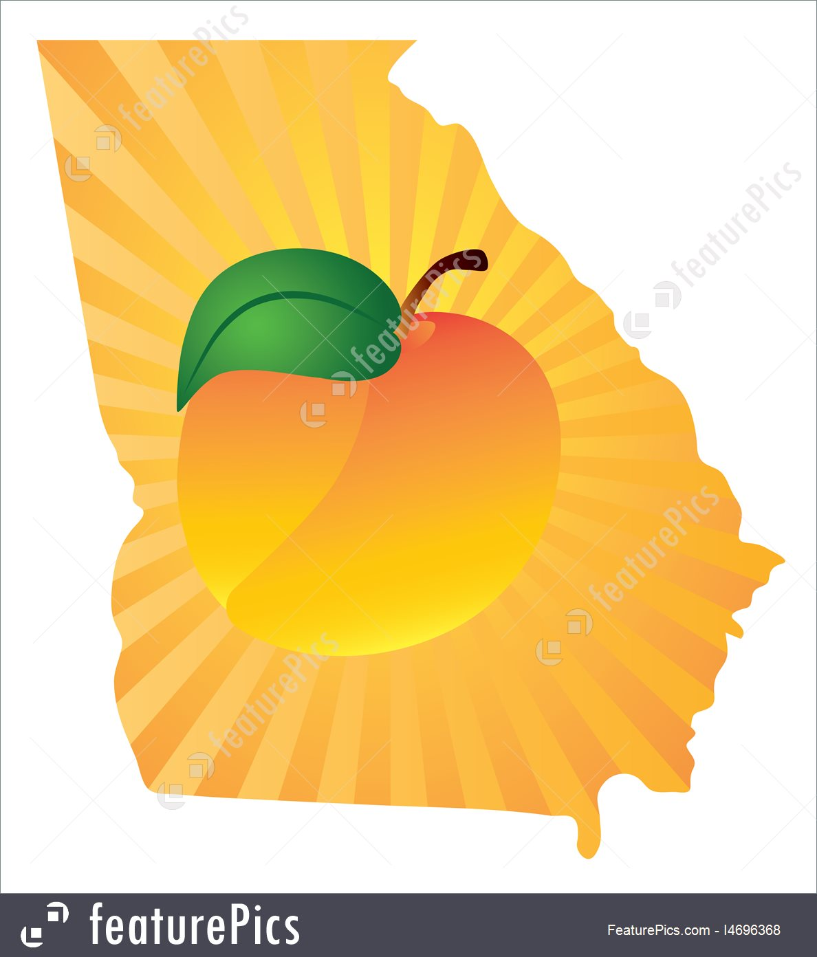 1188x1392 Georgia State With Peach Color Vector Illustration