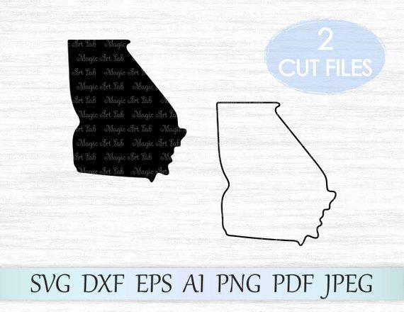 570x440 Georgia State Svg Georgia Silhouette Svg Georgia Vector Etsy
