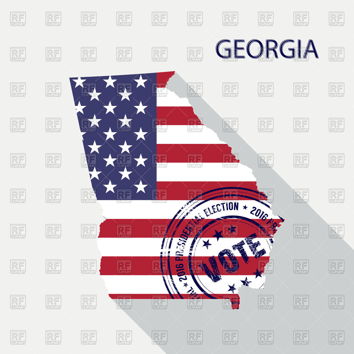 1200x1200 State Of Georgia Map With Flag And Presidential Day Vote Stamp