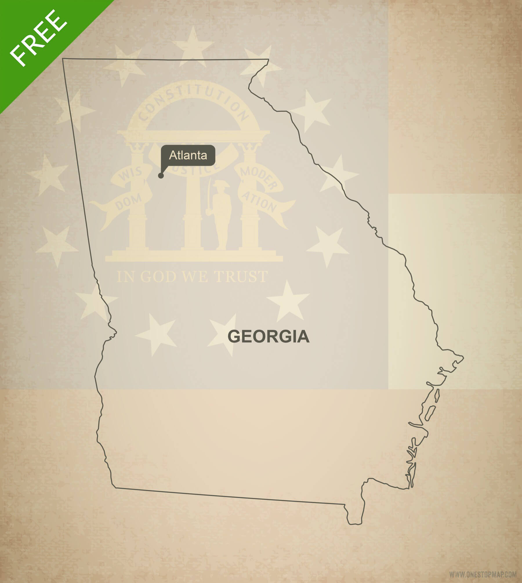1800x2010 Free Vector Map Of Georgia Outline One Stop Map