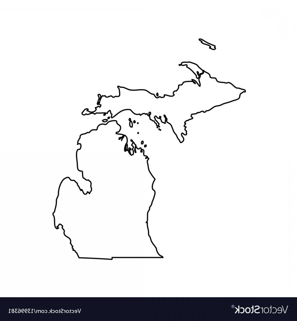 1200x1296 Map Of The Us State Michigan Vector Lazttweet