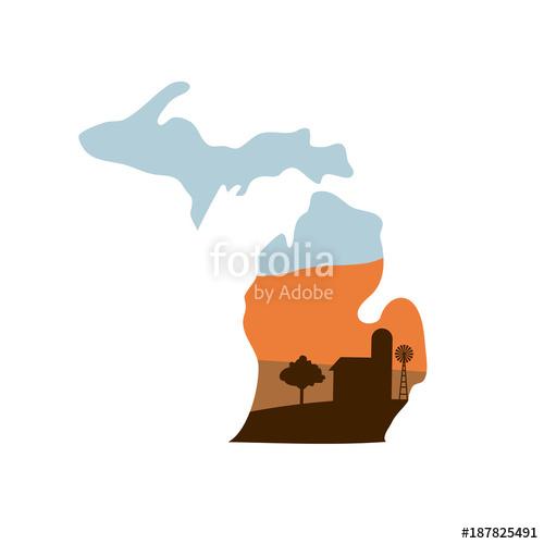 500x500 Michigan State Shape With Farm