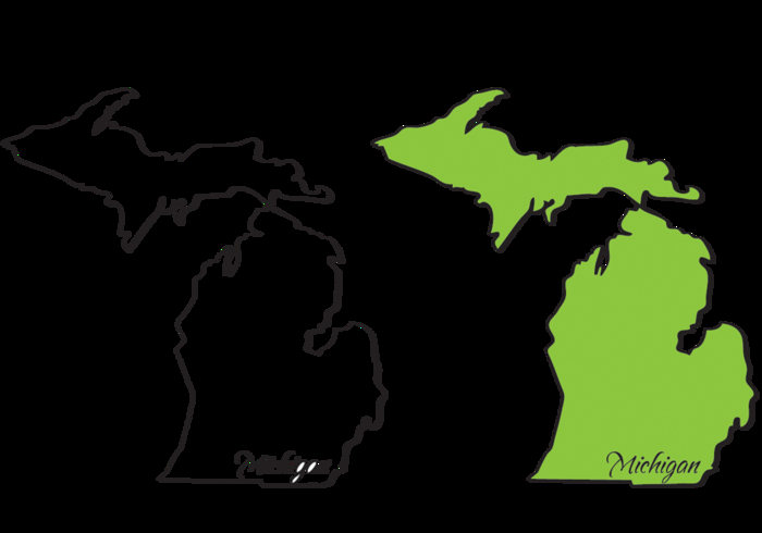 700x490 Blank Map Of Michigan Michigan Mitten State Outlines Vectors