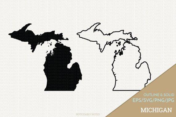 570x379 Michigan Vector State Clipart Mi Clip Art Michigan Svg Etsy