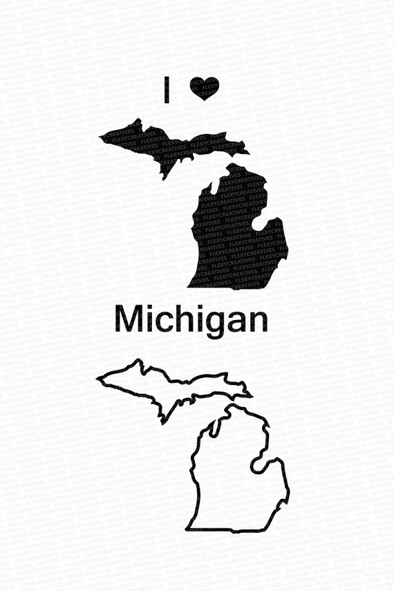 570x855 Michigan Vector State Clipart Michigan Clip Art Michigan Etsy