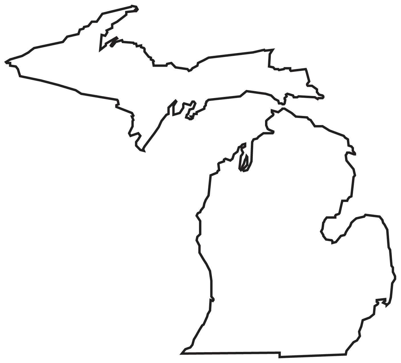 1407x1274 Michigan Lower Peninsula Outline Svg Free Download