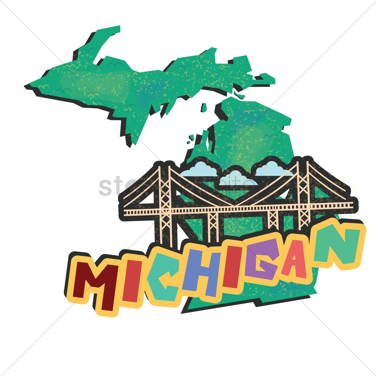 1300x1300 Michigan State Map Vector Image