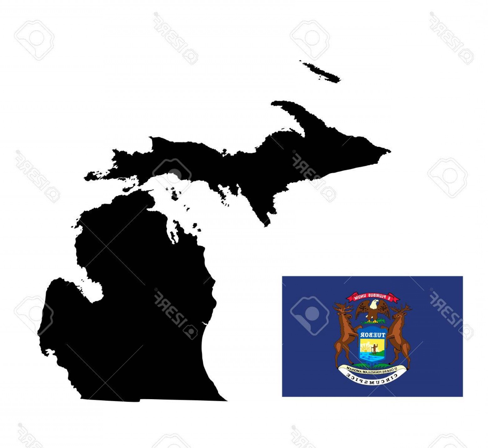 1560x1431 Photostock Vector Michigan Vector Map Isolated On White Background