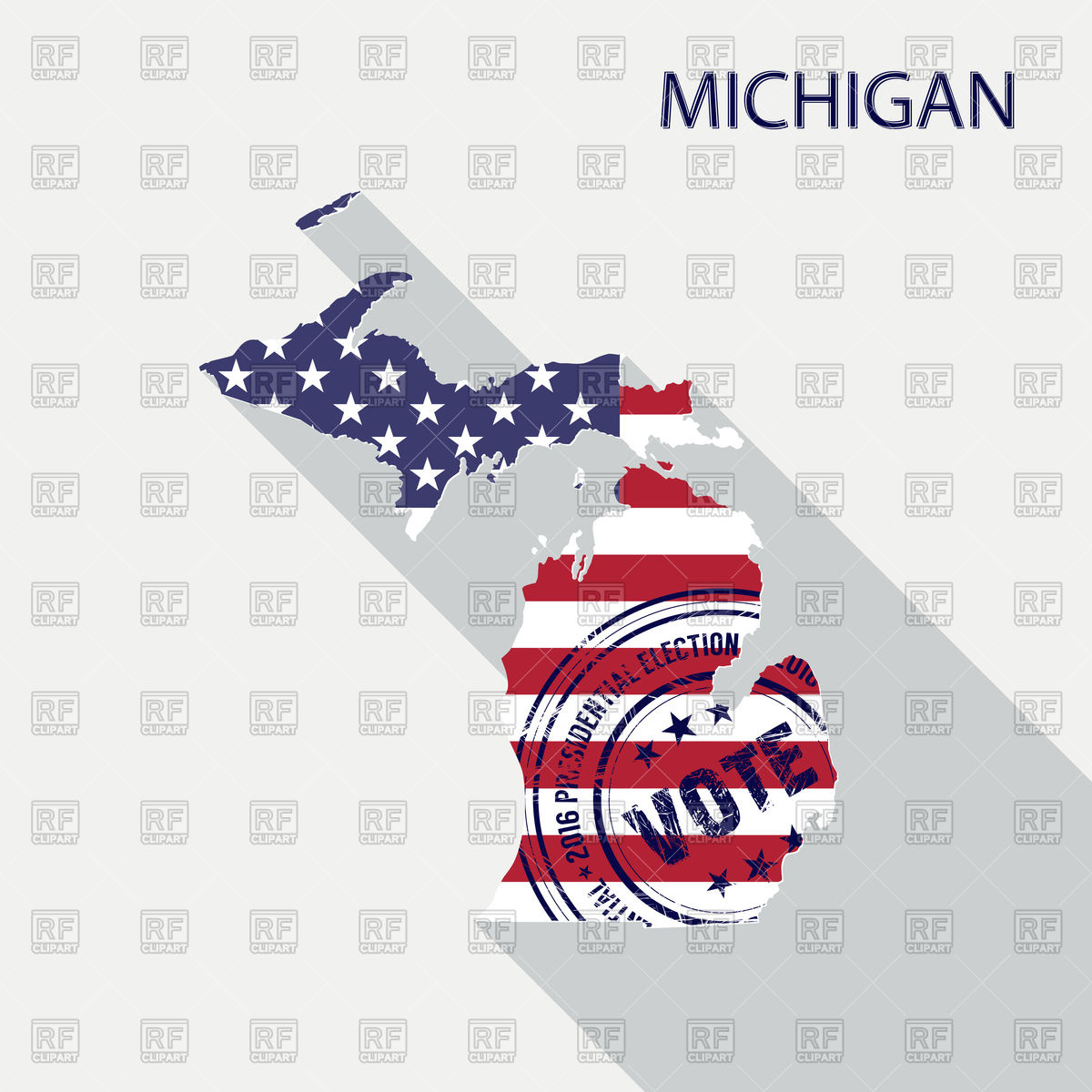 1200x1200 State Of Michigan With American Flag, Presidential Day Vote Stamp
