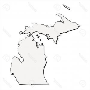300x300 Stock Photo Outline Map Of The State Of Michigan Geekchicpro