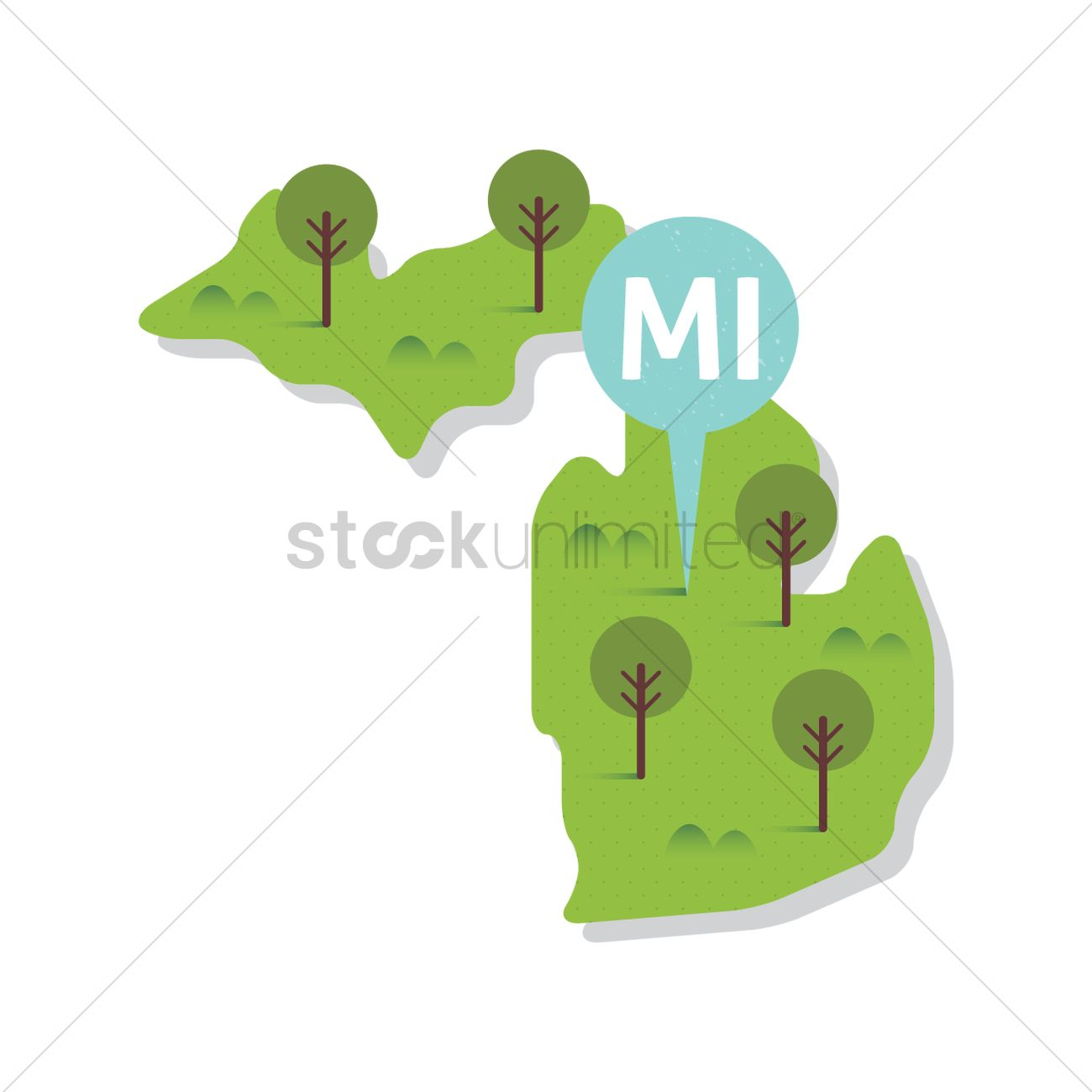 1300x1300 Free Michigan State Map Vector Image