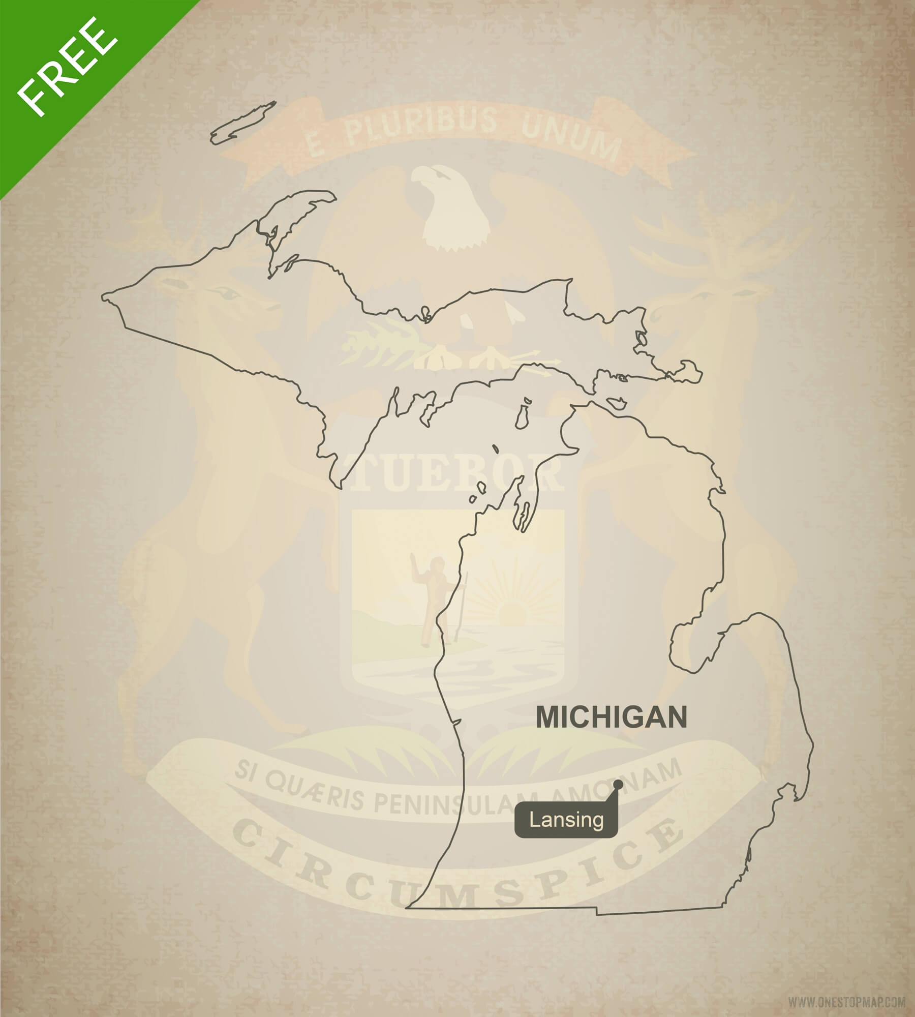 1800x2000 Free Vector Map Of Michigan Outline One Stop Map