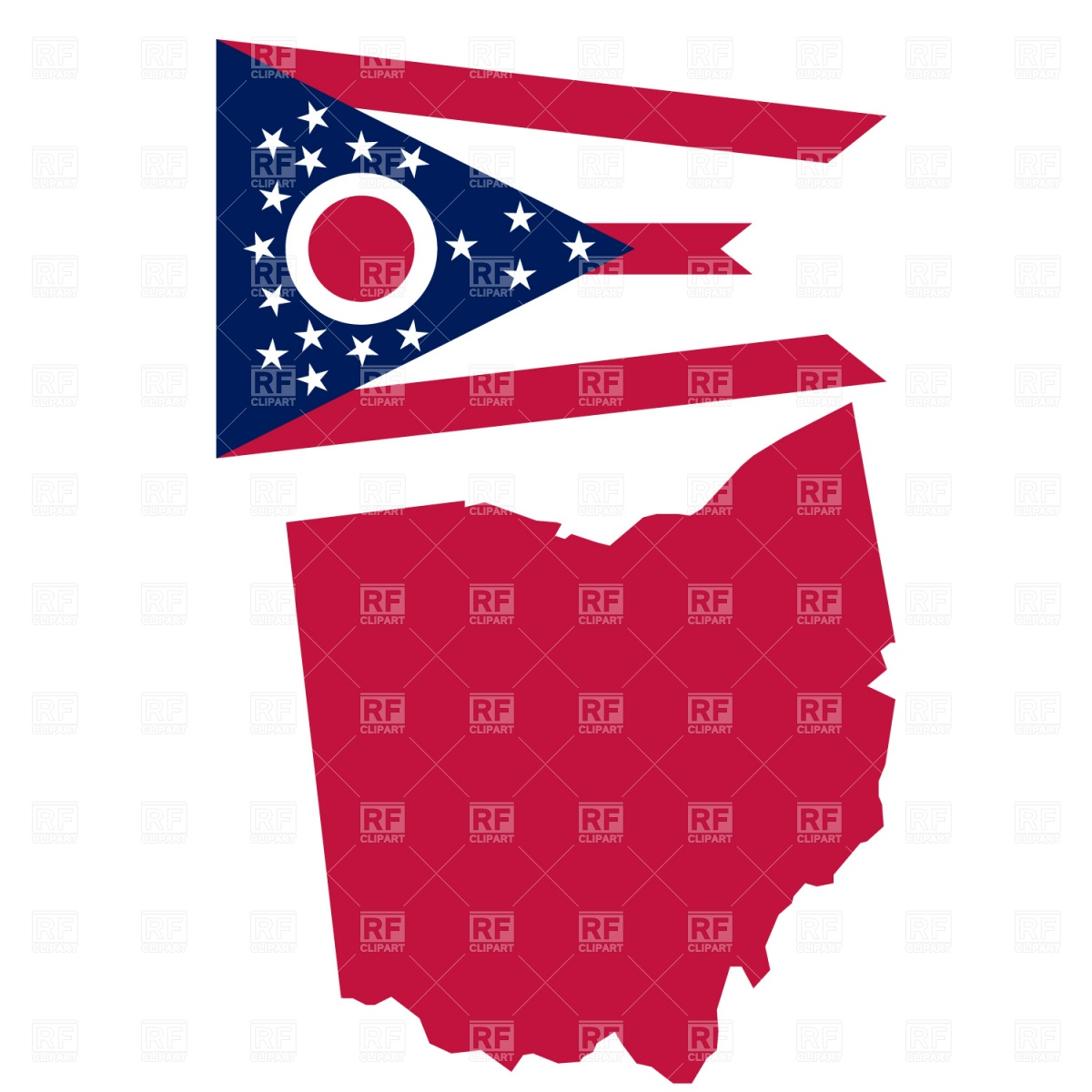1200x1200 Map And Flag Of Ohio State Vector Image Vector Artwork Of Signs