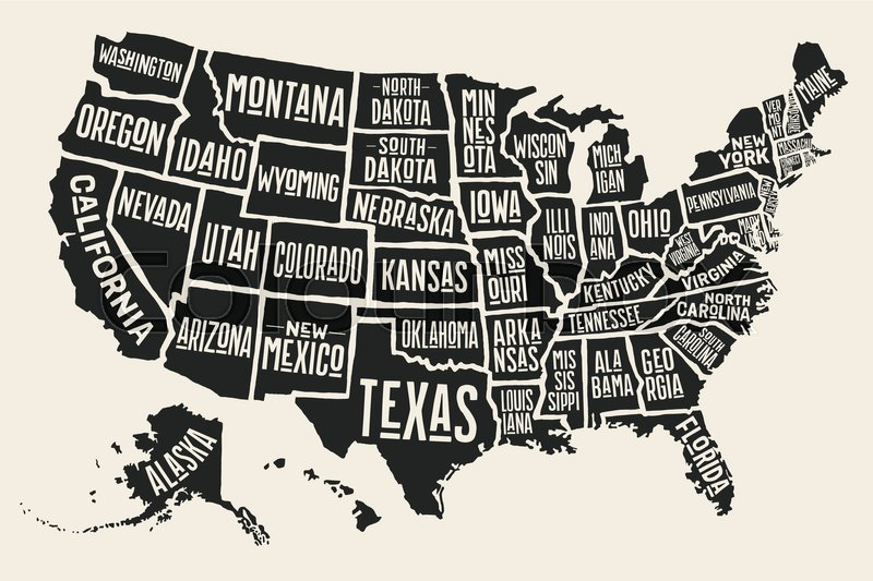 800x533 Poster Map Of United States Of America With State Names. Black And