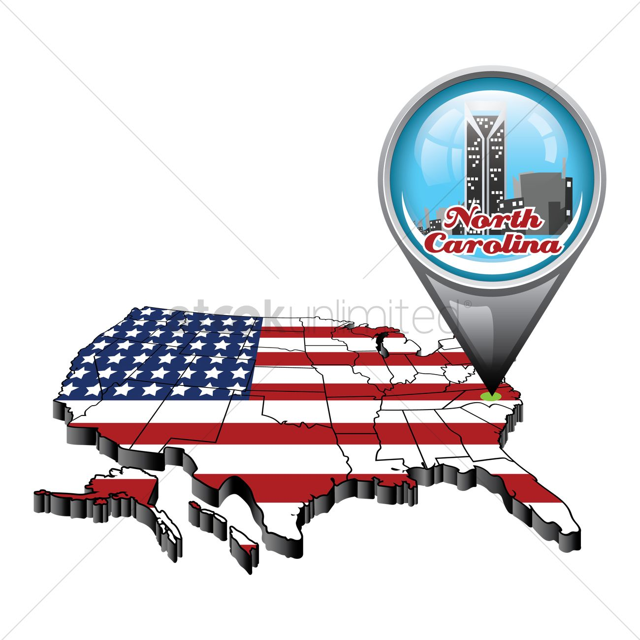 1300x1300 Us Map With Pin Showing North Carolina State Vector Image