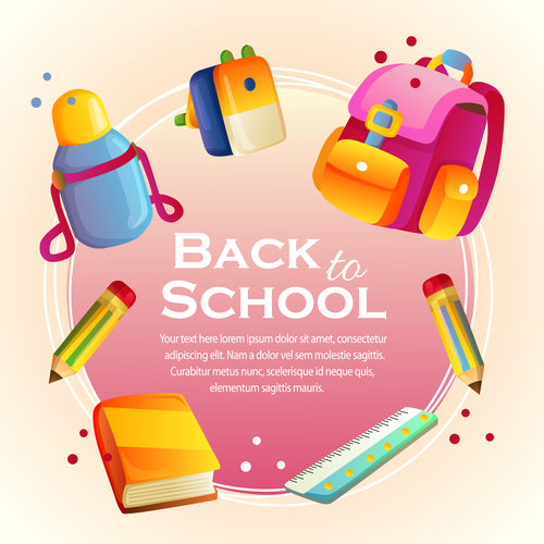 500x500 Back To School Card With School Stationary Vector Free Download