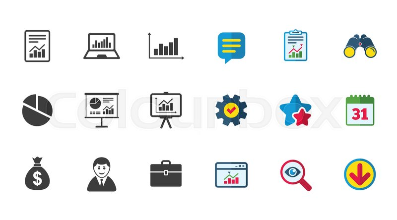 800x444 Statistics, Accounting Icons. Charts, Presentation And Pie Chart