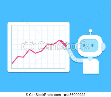450x394 Robot And Business Statistics. Cute Cartoon Robot Drawing Line