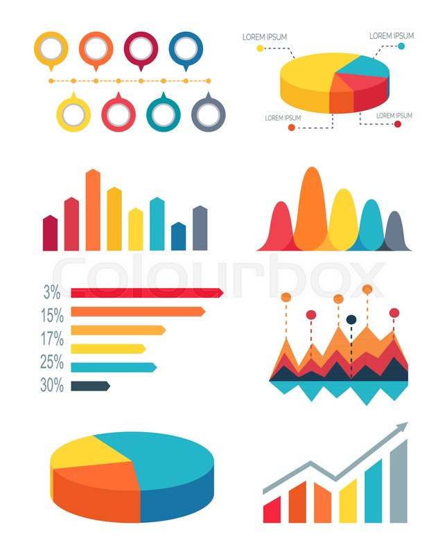 645x800 Set Different Colorful Bar Graphs And Pie Charts For Representing