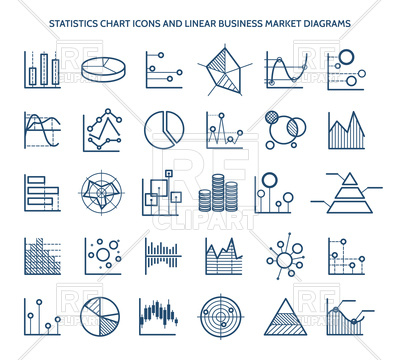 400x360 Statistics Chart Icons And Linear Business Market Diagrams Vector