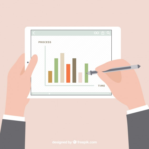 626x626 Statistics Diagram On Tablet Vector Free Download