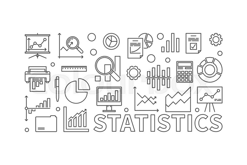 800x534 Vector Statistics Line Illustration. Vector Concept Banner Made