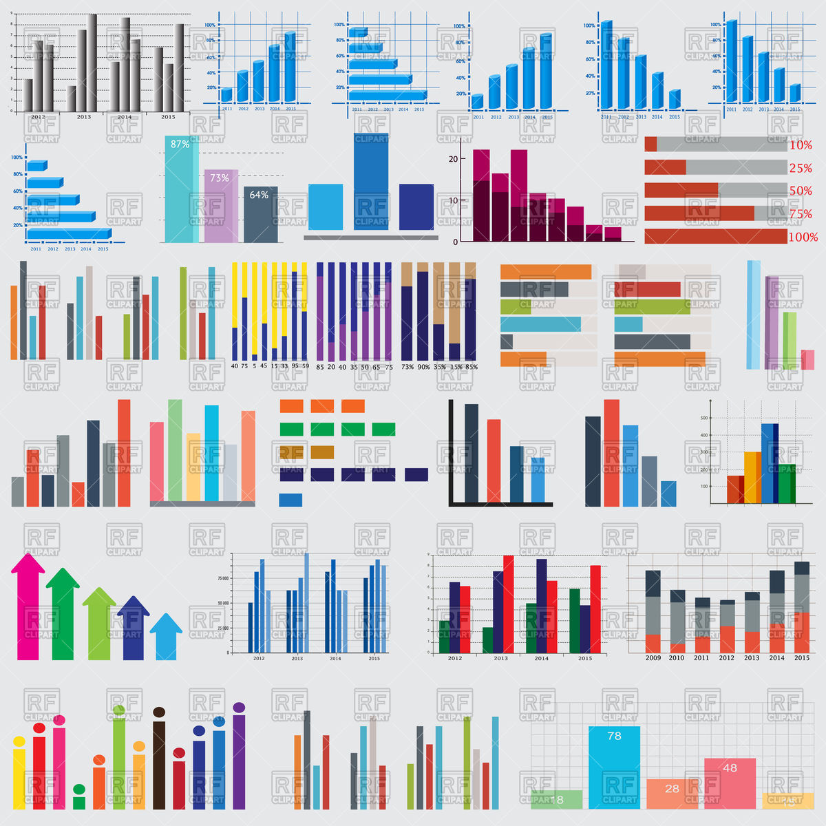 1200x1200 Charts And Graphs For Reports And Statistics Vector Image Vector