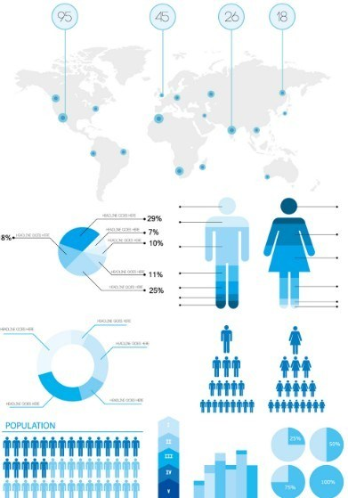 391x559 Free Blue Infographic Statistics Design Elements Vector