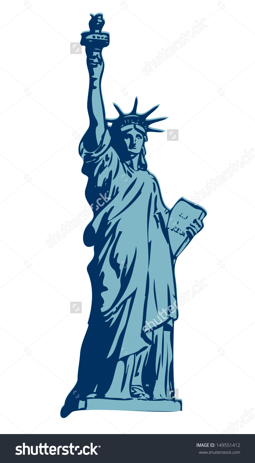 883x1600 Statue Of Liberty Clipart Blue Free Collection Download And