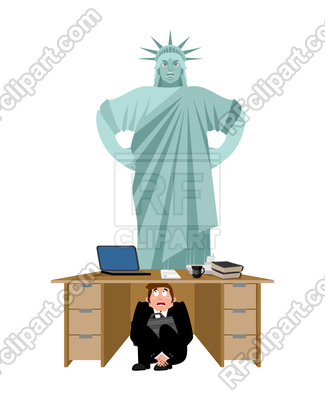 325x400 Businessman Scared Under Table Of Statue Of Liberty Vector Image