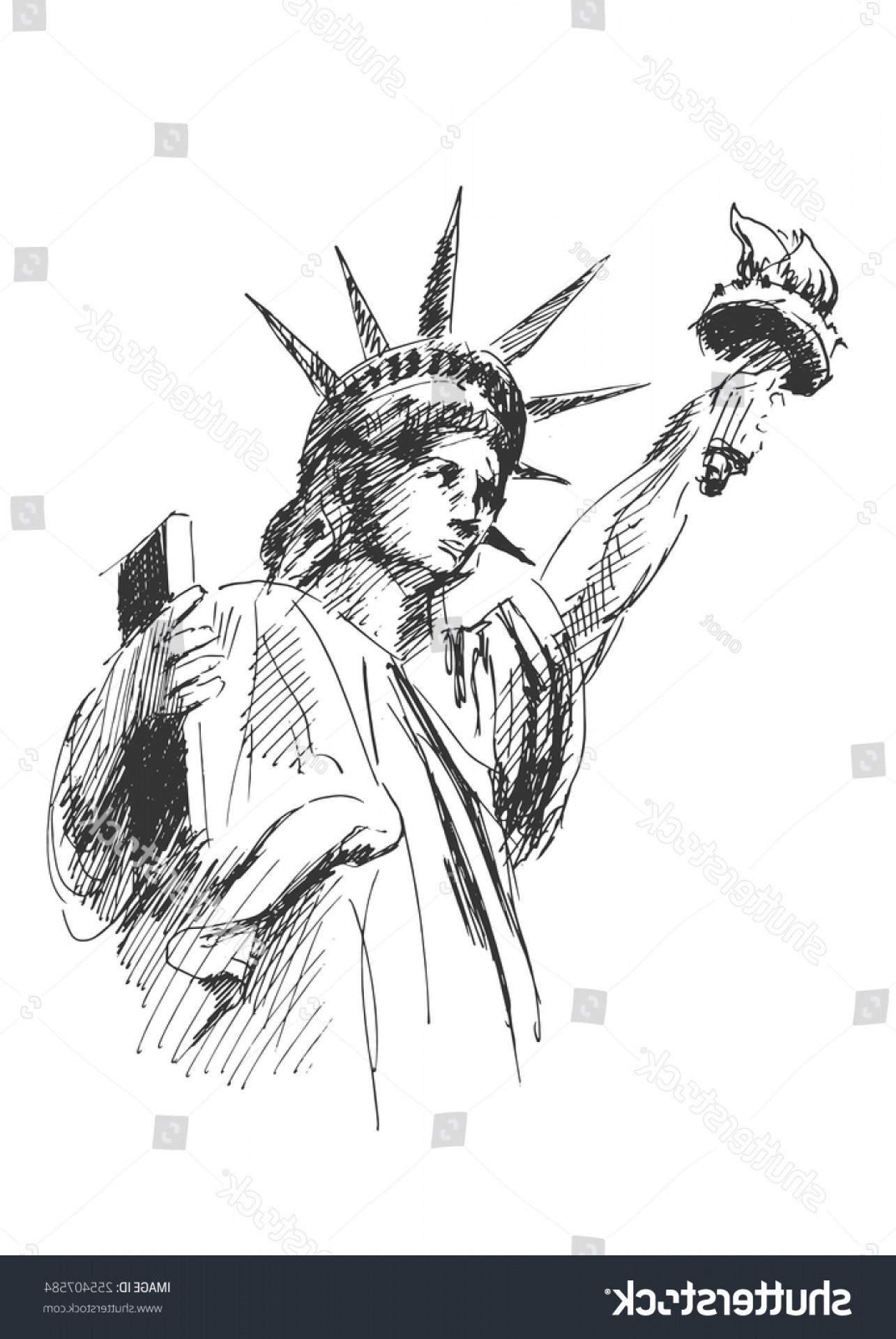 1285x1920 Hand Sketch Statue Liberty Vector Illustration Lazttweet