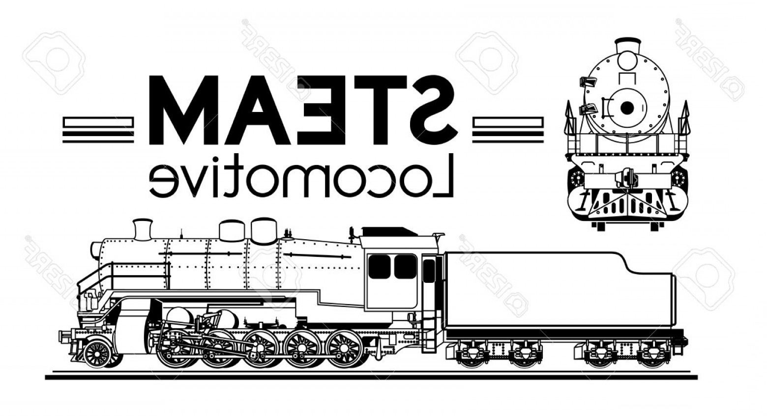 1560x847 Photostock Vector Line Drawing Of A Steam Locomotive Front And