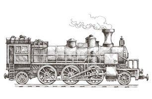 306x200 Retro Steam Locomotive Vector Logo Design Train Or Rai Stock