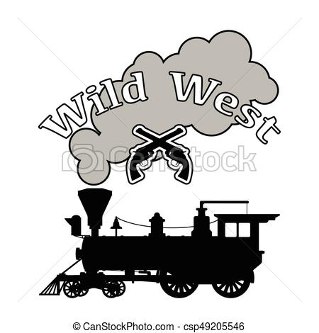 450x470 Silhouette Steam Locomotive. Isolated On White Background.