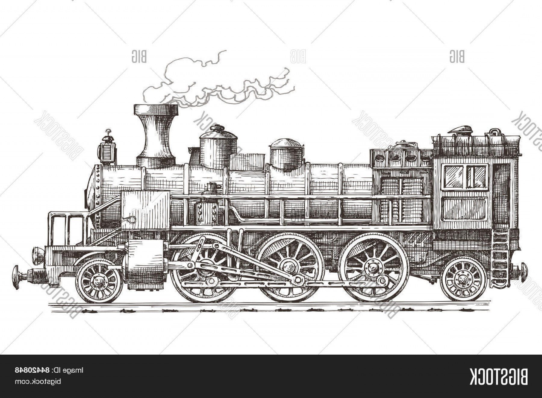 1800x1321 Stock Vector Retro Steam Locomotive Vector Logo Design Template