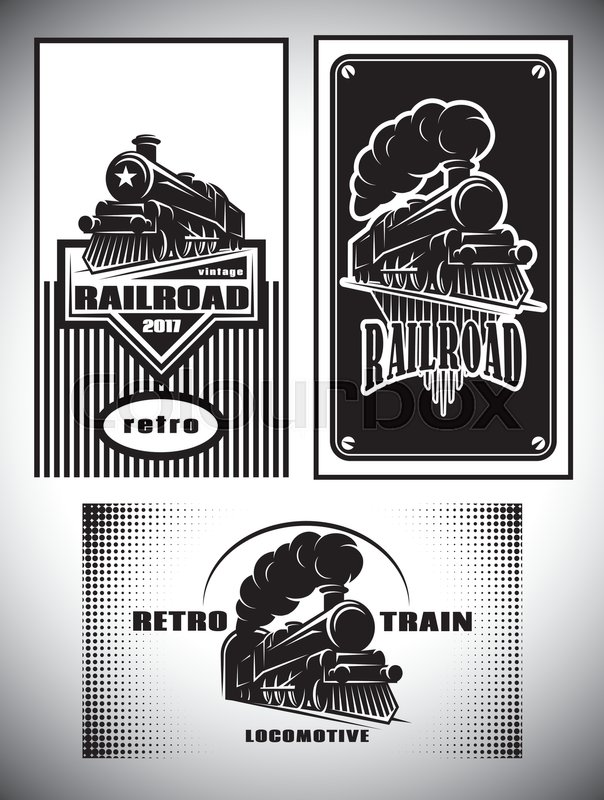 604x800 Business Cards Template Set. Vintage Steam Train, Old Retro