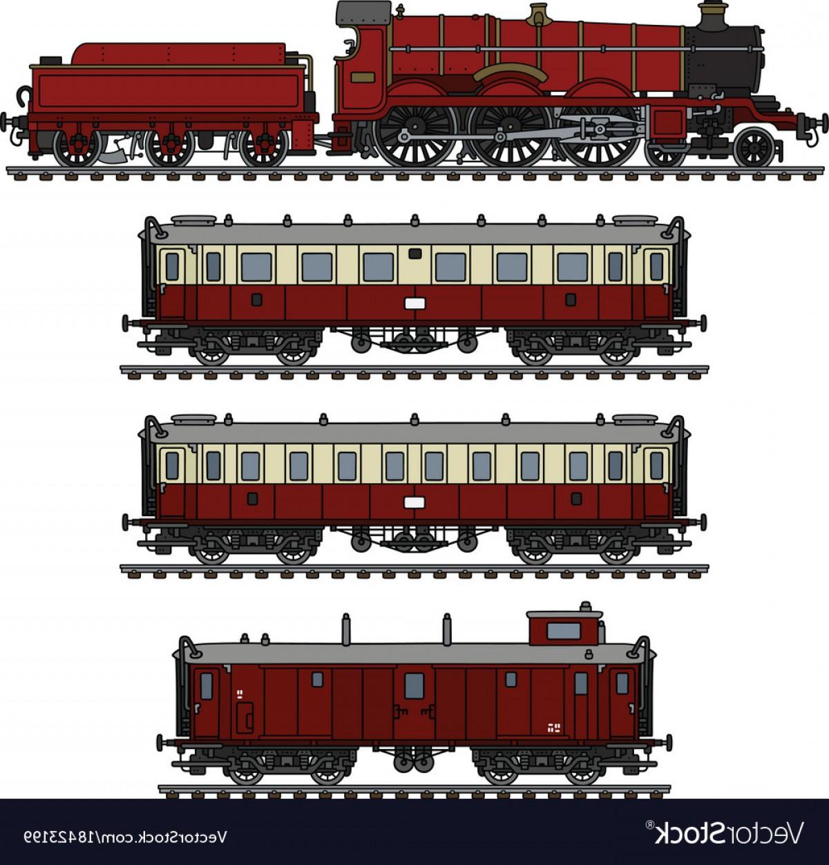 1200x1252 Vintage Red Passenger Steam Train Vector Orangiausa