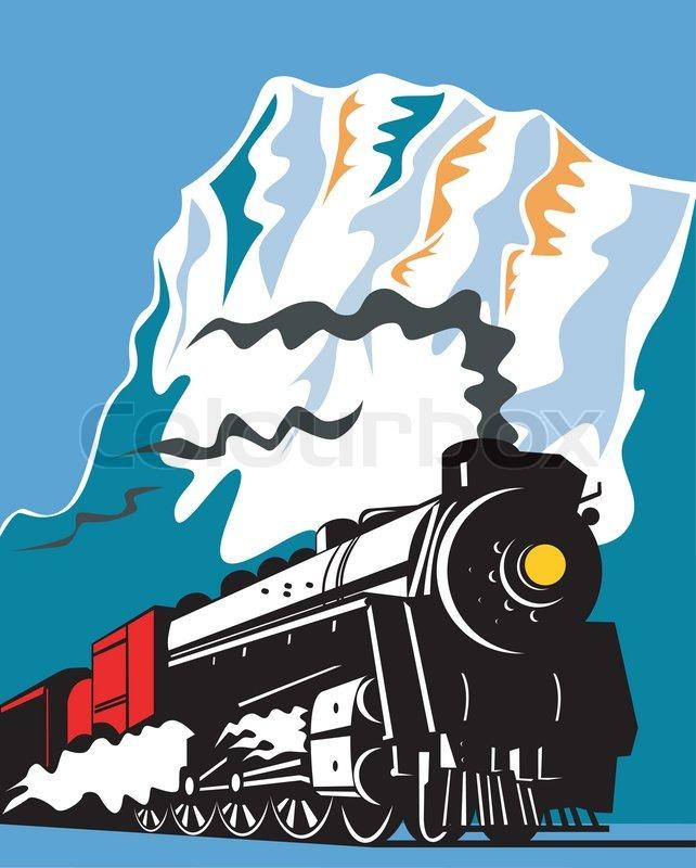642x800 Vintage Steam Train Locomotive Retro Stock Vector Colourbox