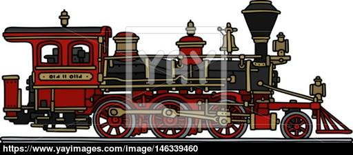 512x225 Classic Red American Steam Locomotive Vector