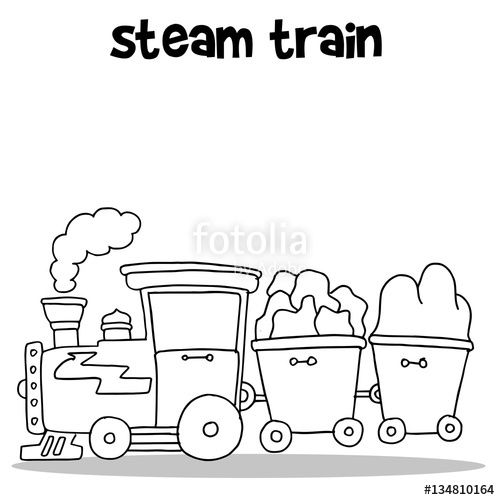 500x500 Hand Draw Of Steam Train Vector Stock Image And Royalty Free