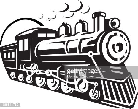 465x369 Line Art Graphic Of Steam Train Emerging From A Tunnel For The