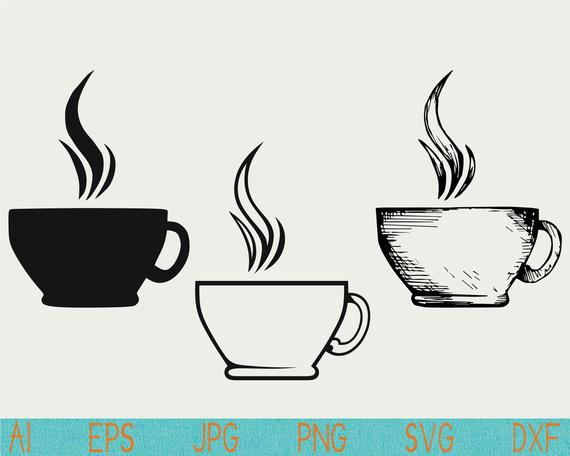 570x456 Tea Cup Svgcup Svgcup Of Teasilhouettesteamvector Etsy