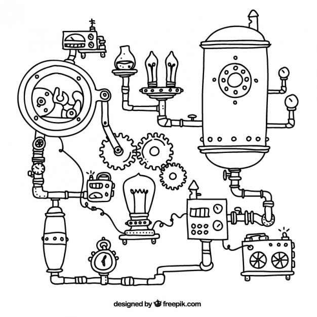 626x626 Steampunk Machinery Background Vector Free Download