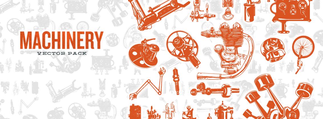 1132x419 Steampunk Series Machinery Vector Pack (Freebie Inside)