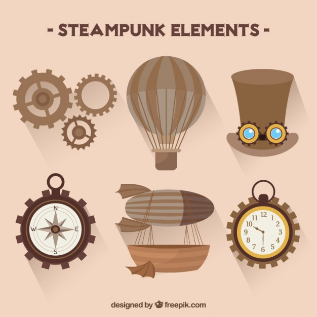 626x626 Collection Of Steampunk Elements Vector Free Download