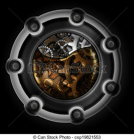 450x470 Steampunk Abstract Mechanism. Gears In Machine Oil.