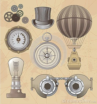 400x430 Vintage Steampunk Vector Design Set