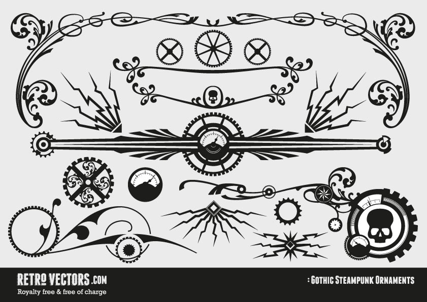 841x596 Free Gothic Steampunk Ornaments Vintage Vectors Royalty Free